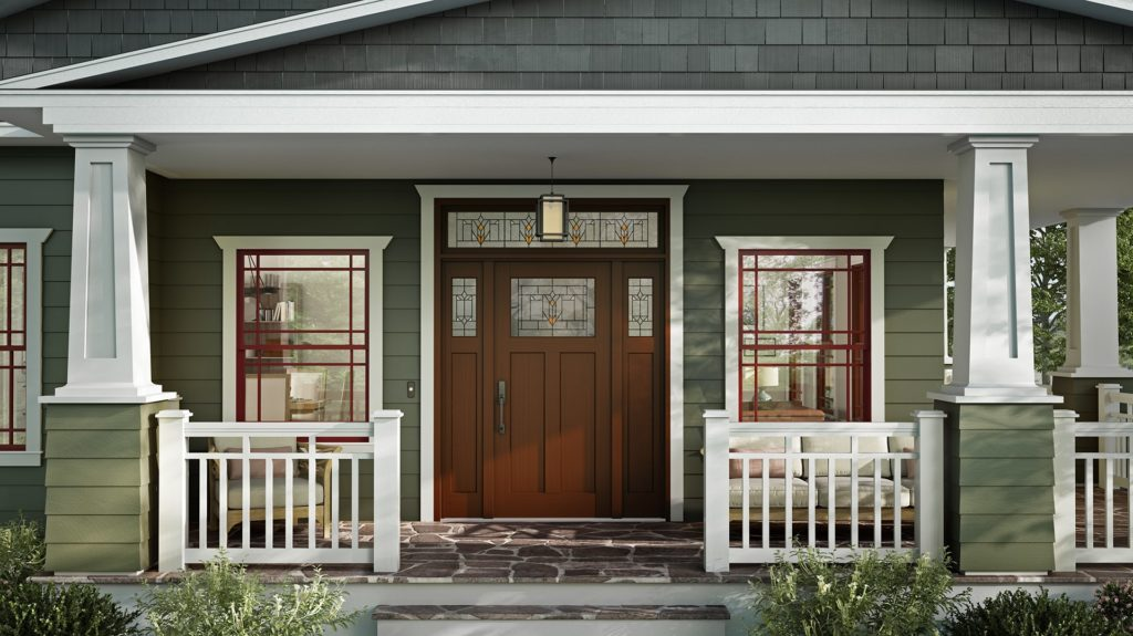 craftsman home with replacement entry door