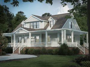 Large home with Ranch style porch