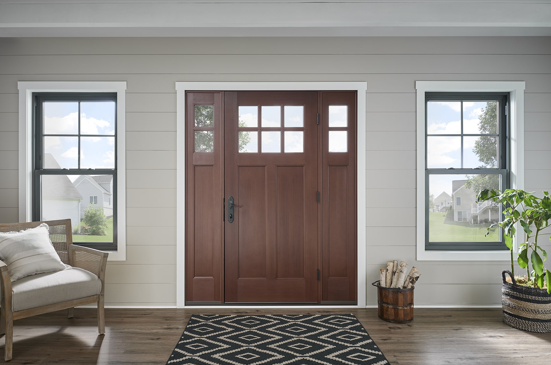 Wood front entry door