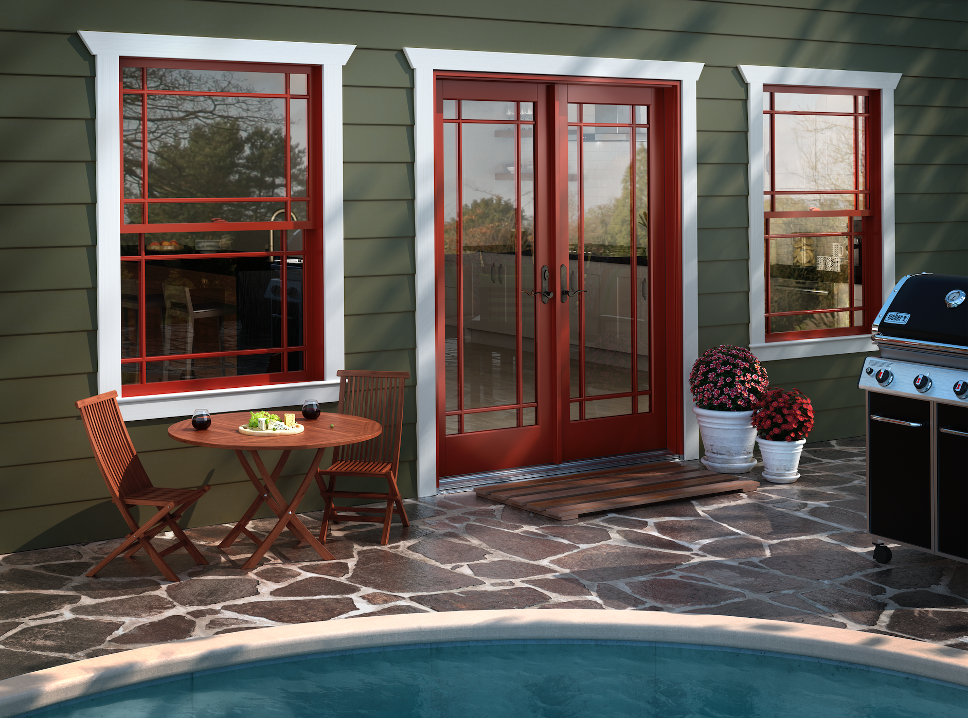 French door leading out to a home's outdoor area with a pool