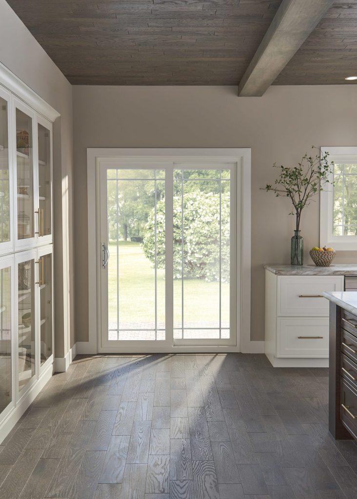 Kitchen with white sliding patio door
