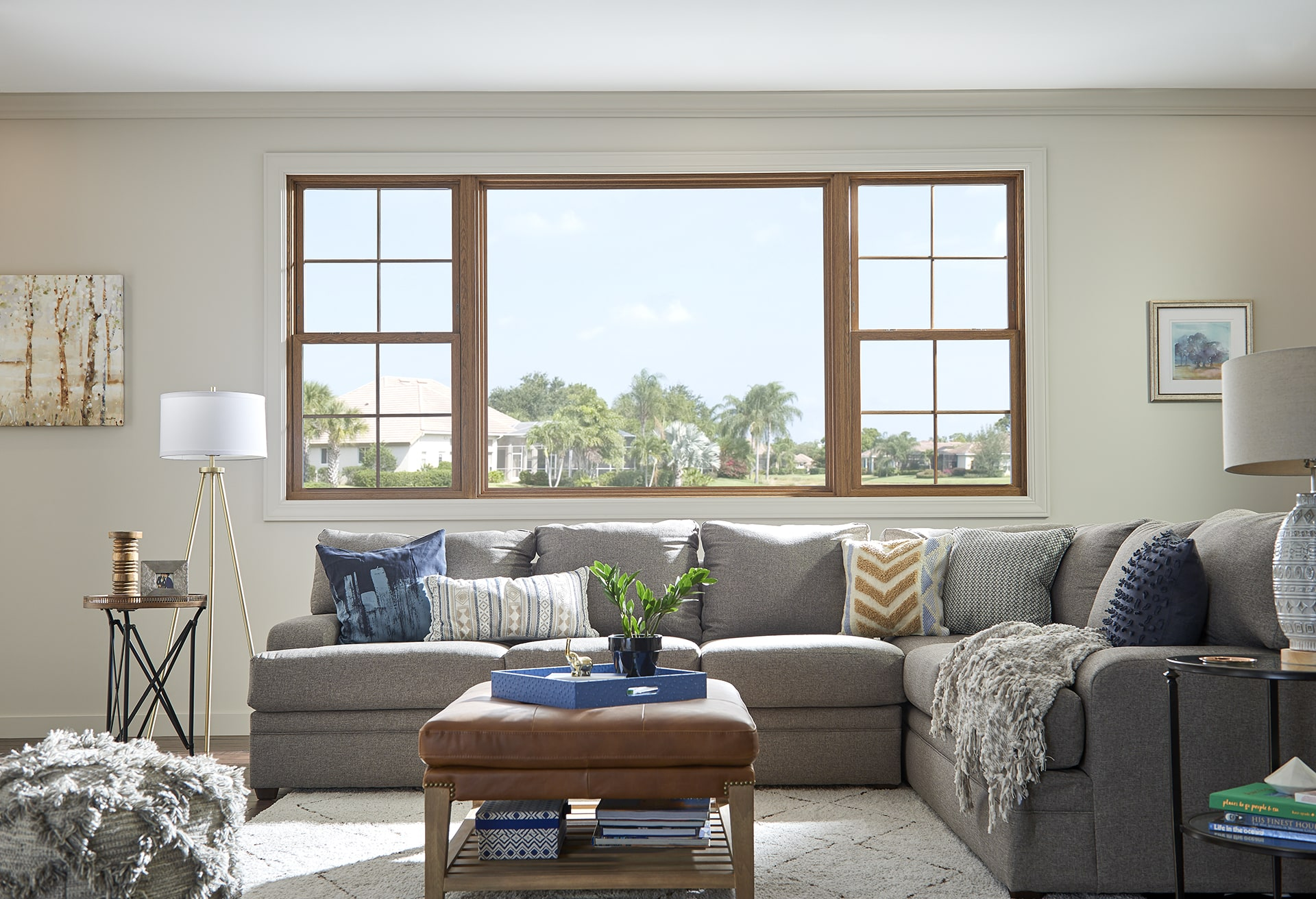living room with replacement windows