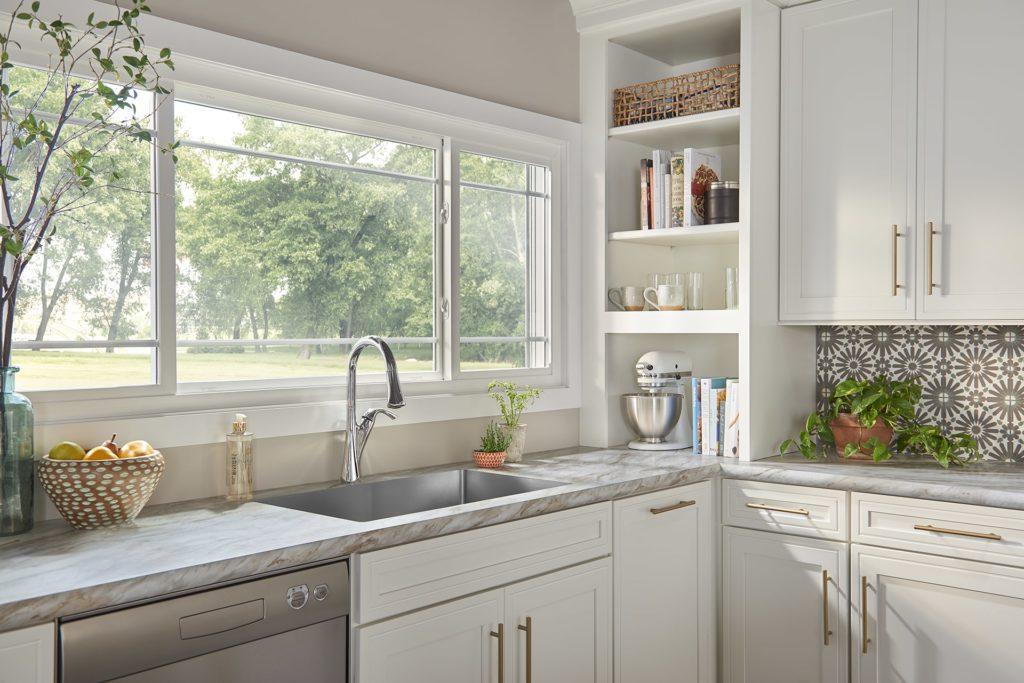 White windows in elegant, modern kitchen