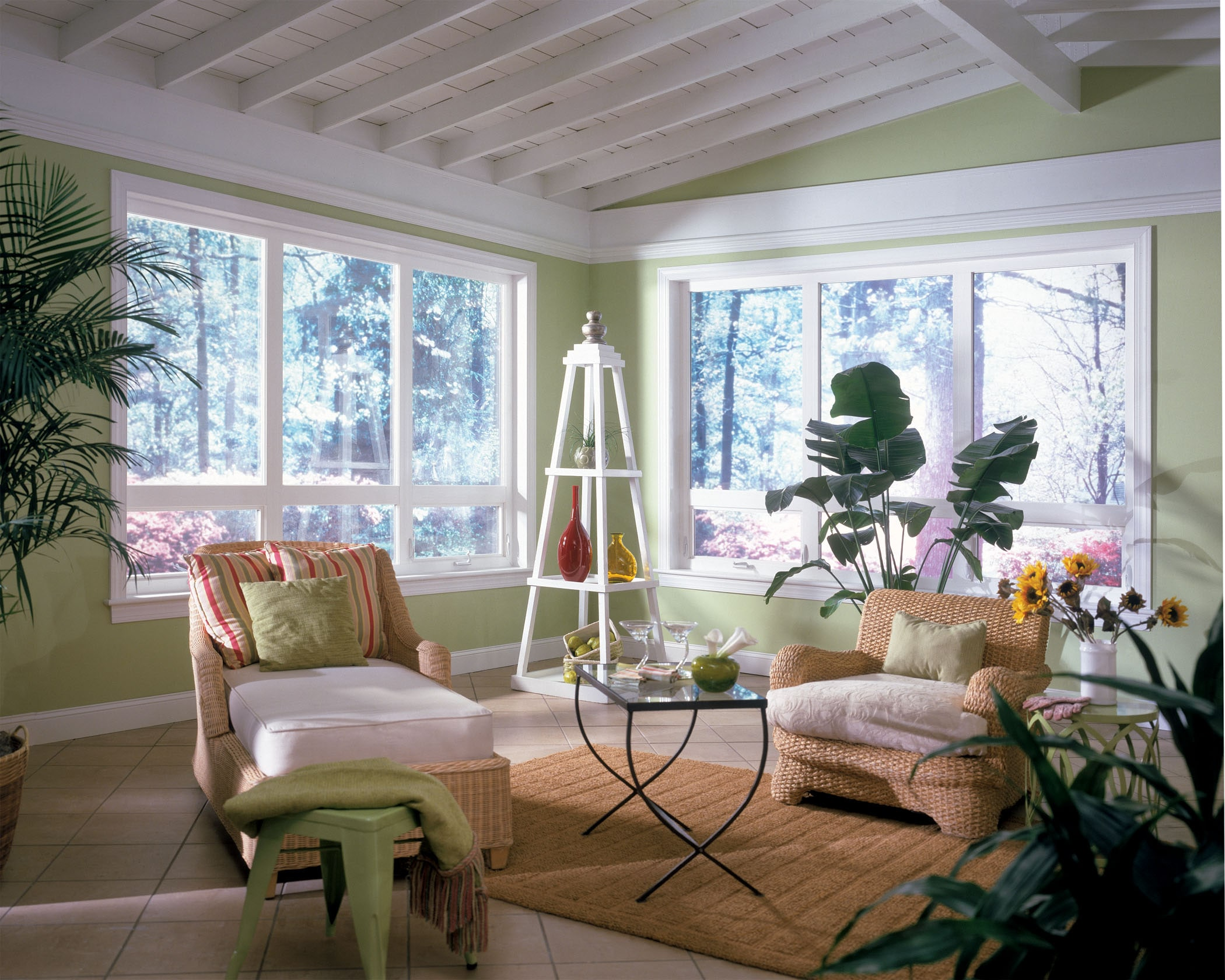 Awning windows brightens living room.