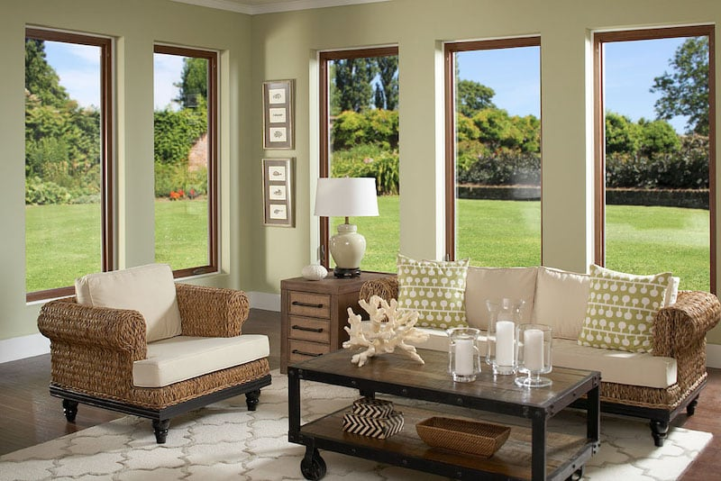 Casement windows show off panoramic views from living room.