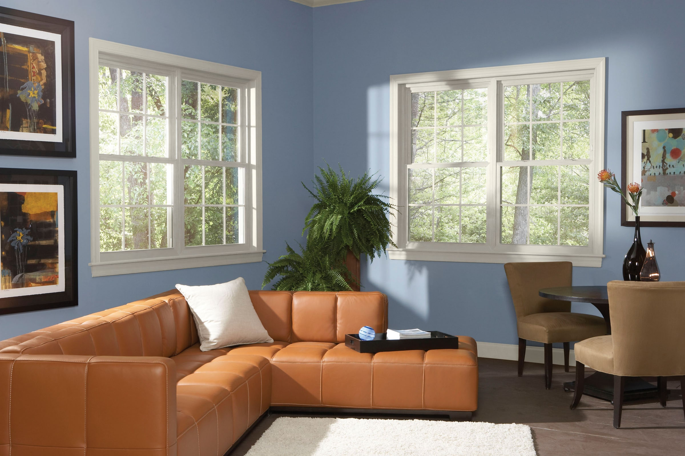 Living room features double hung windows.