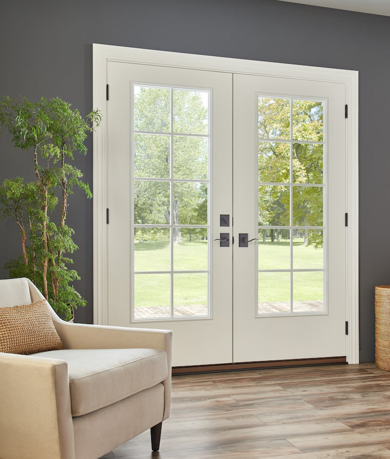 French rail door in a living room
