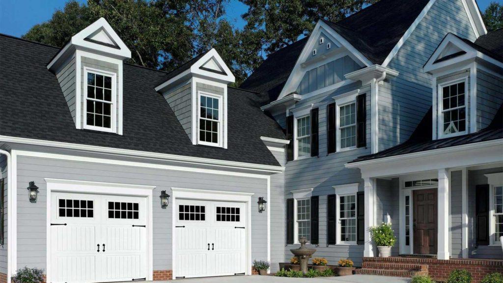 home with replacement garage doors