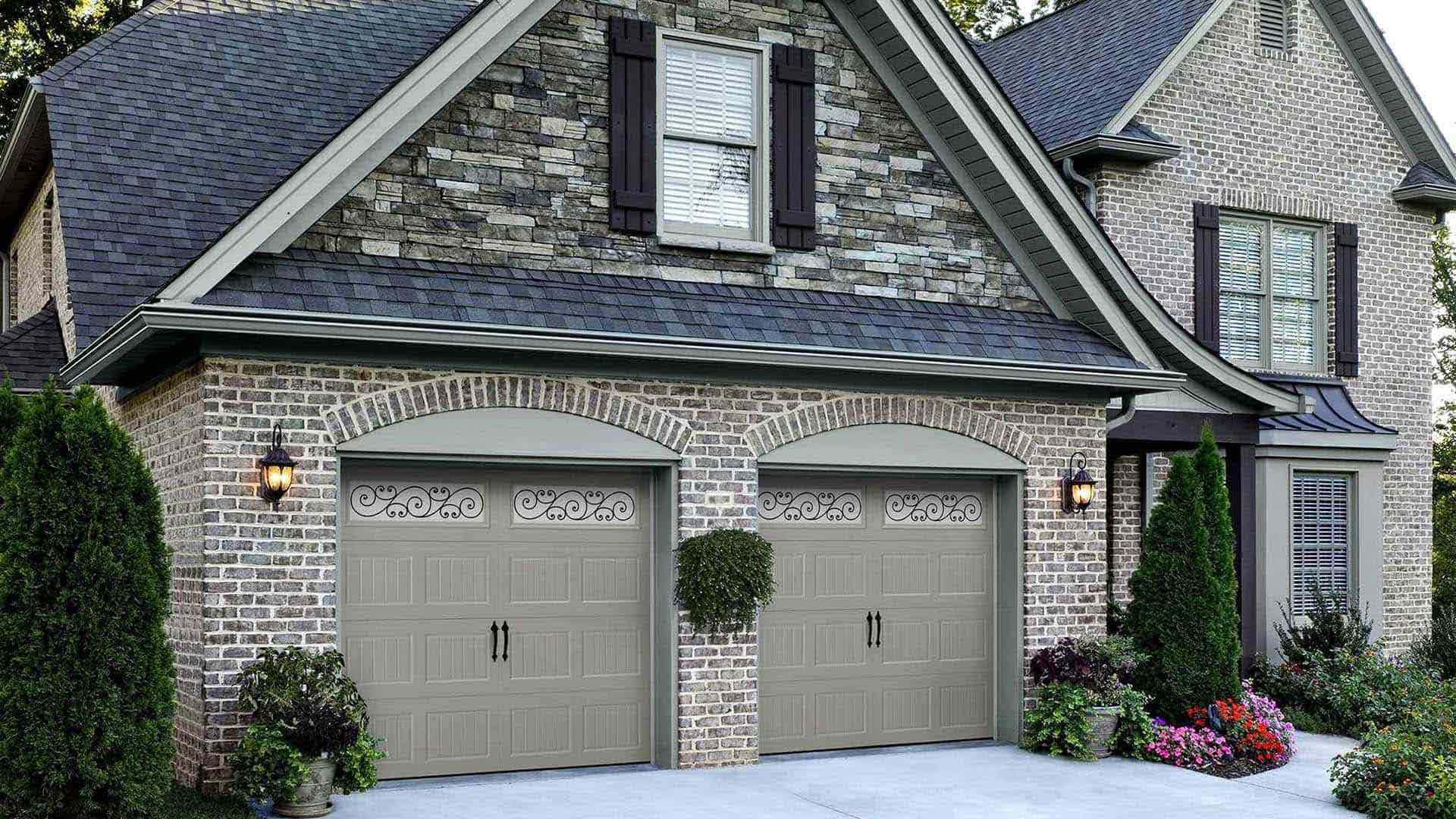 home with replacement garage doors