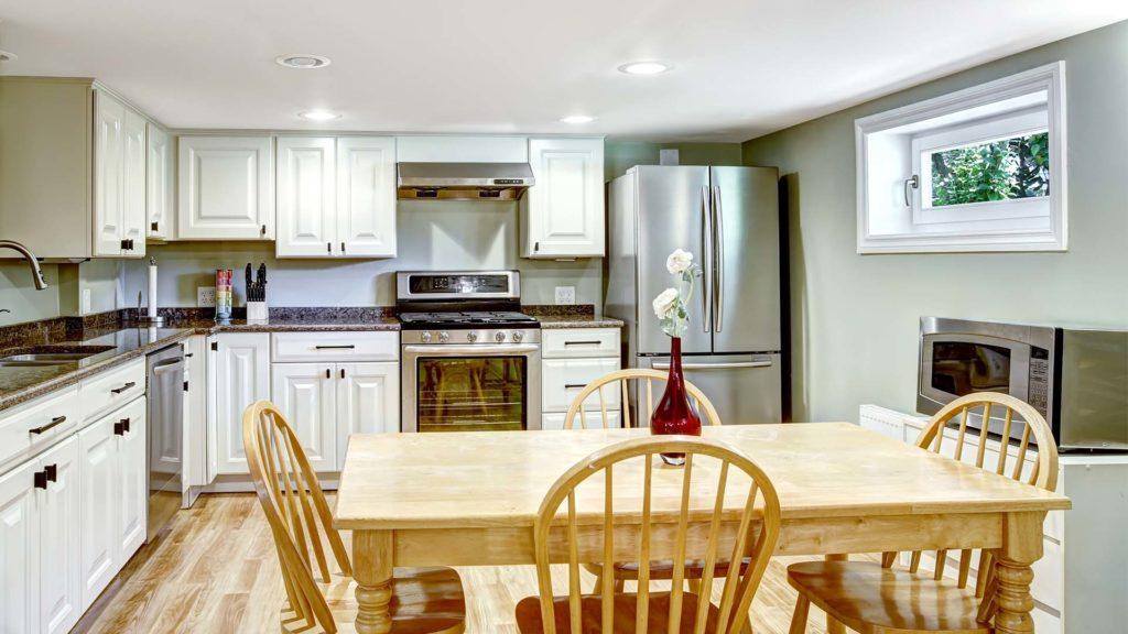 kitchen with basement hopper window