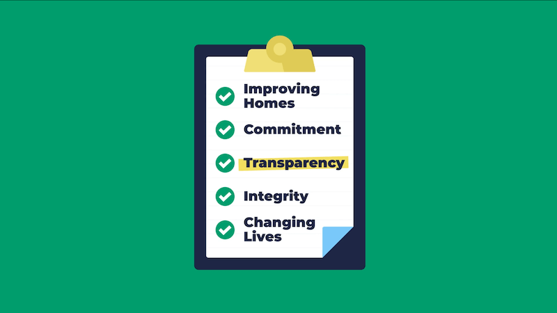 Clipboard highlighting Window World's core value of transparency