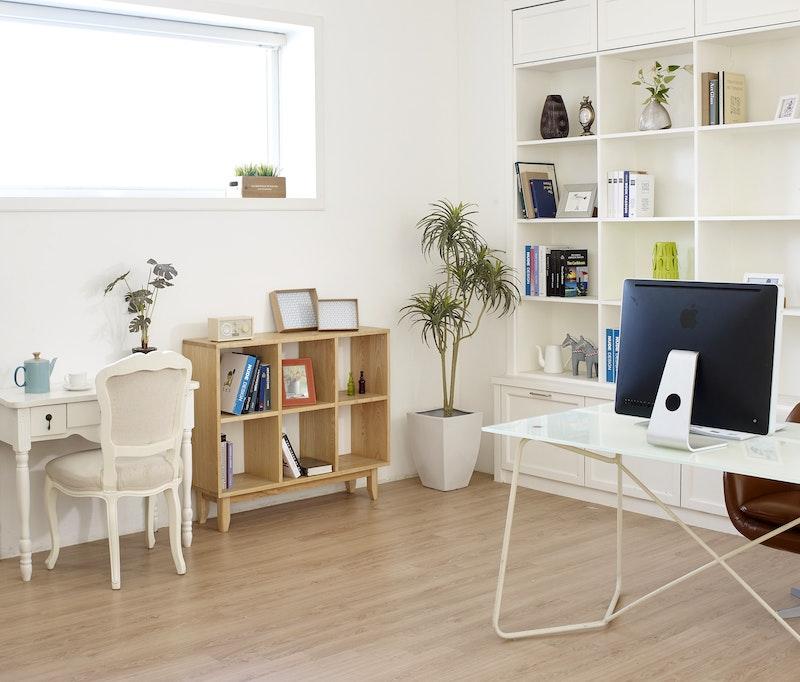 desk beside window