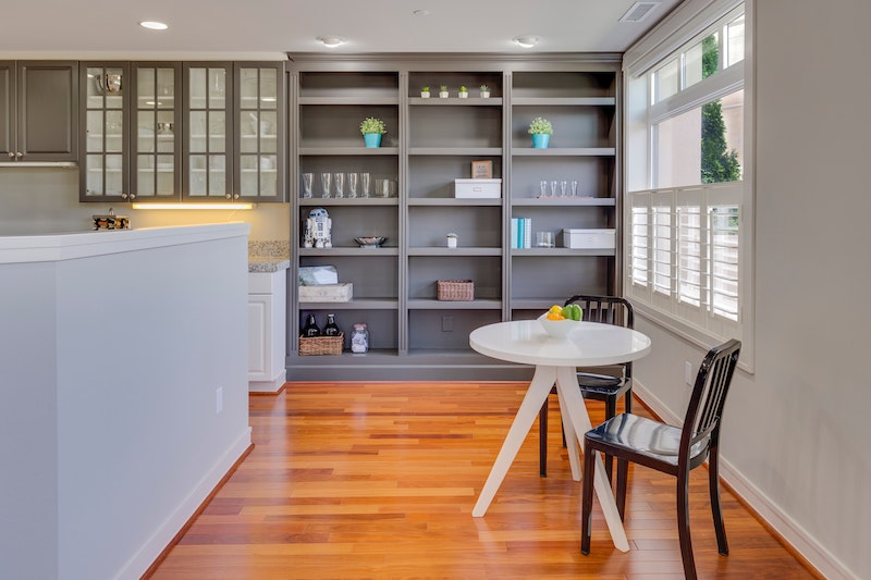 kitchen nook with shelving