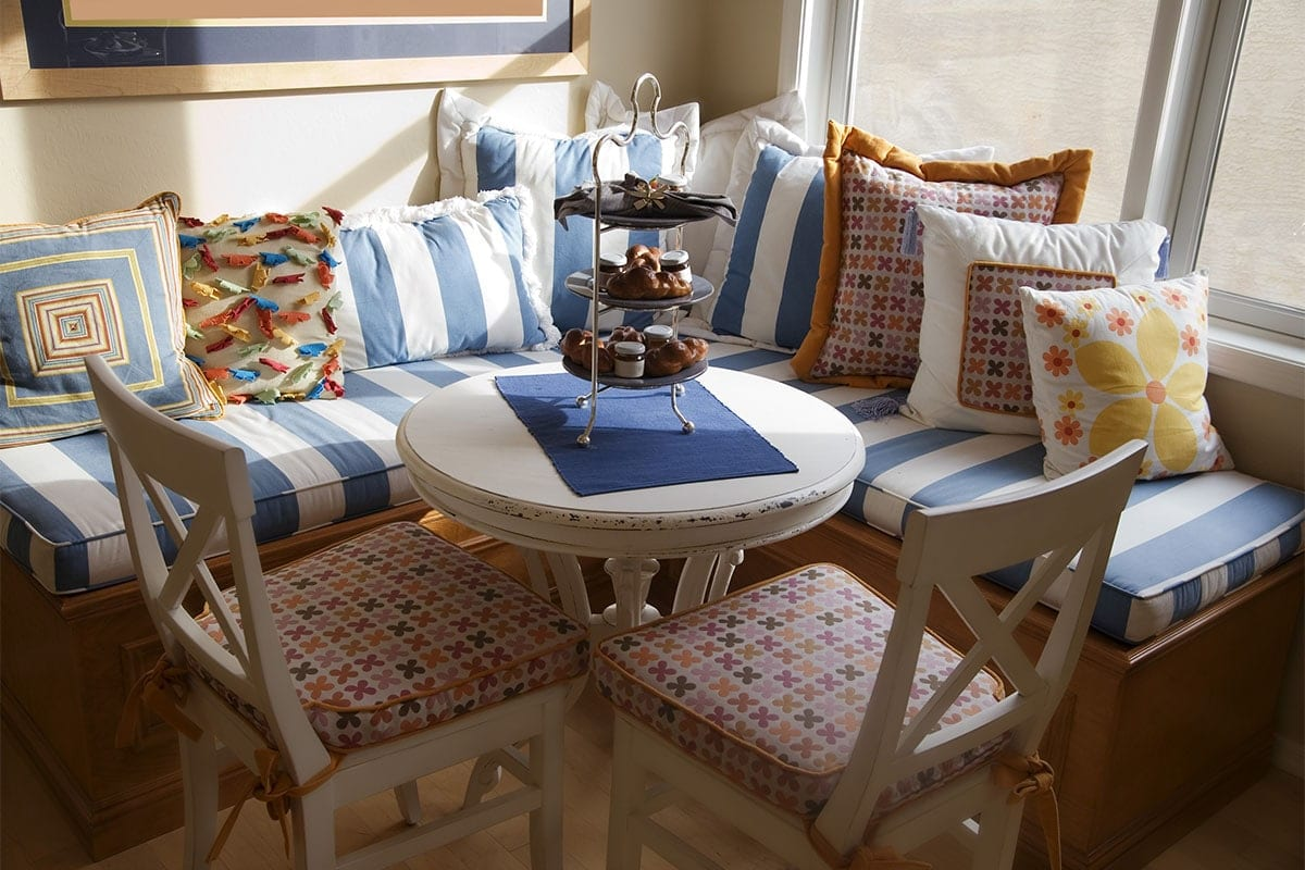 breakfast nook with pillows