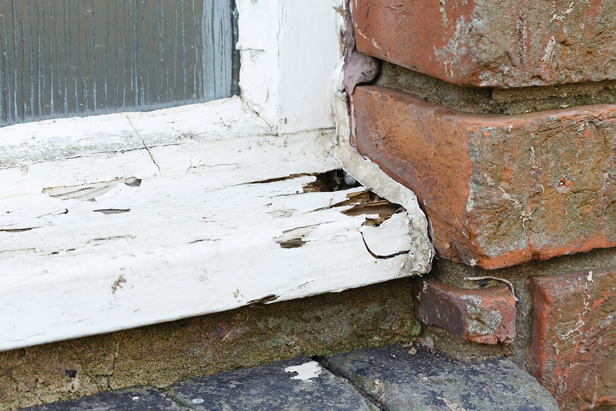 rotted exterior window casing