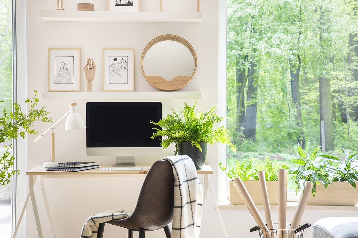 home office with large windows