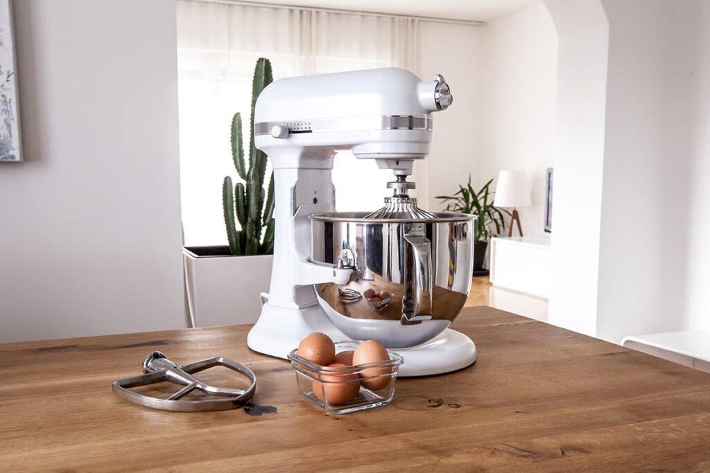 white stand mixer in kitchen