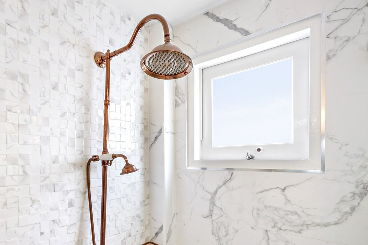 awning window in the shower