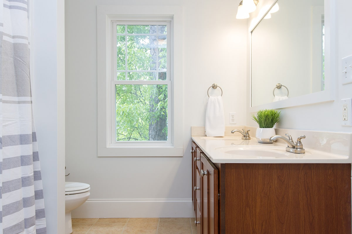 double hung window in the bathroom