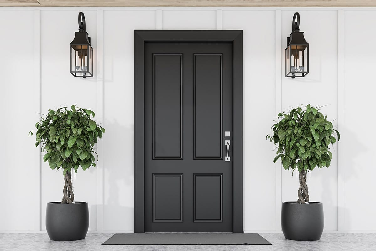 white house with black entry door