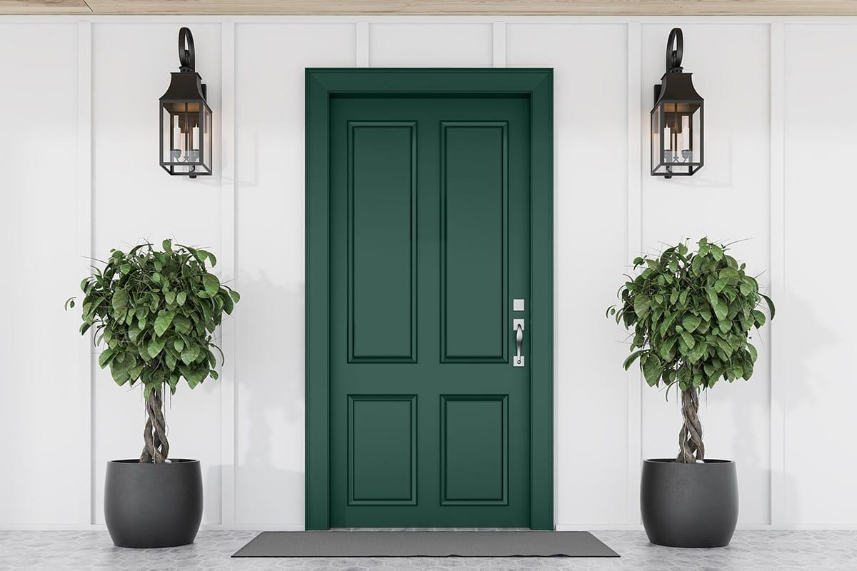 white house with dark green door