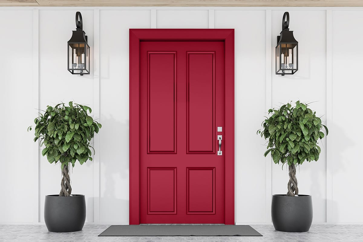 white house with red entry door