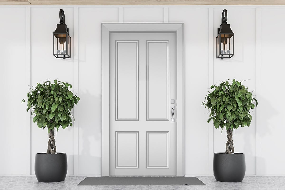white house with white front door